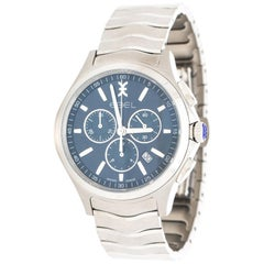Ebel Blue Stainless Steel Wave 1216344 Chronograph Men's Wristwatch 42 mm