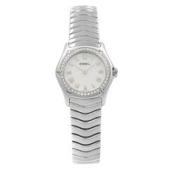 Ebel Classic MOP Roman Dial Diamonds Steel Quartz Ladies Watch 9157F14-9225