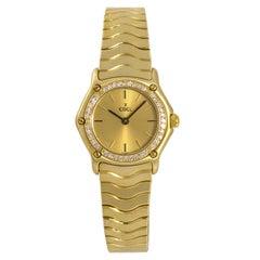 Ebel Classic Sport Wave Women's 18 Karat Yellow Gold Quartz Watch Diamond Bezel