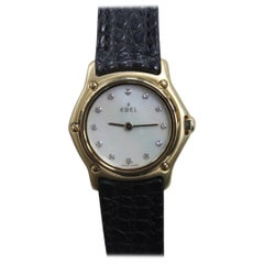 Ebel Classic Wave 18 Karat Gold Ladies MOP Diamond Dial Box and Papers Like New