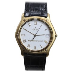 Ebel Classic Wave 18 Karat Yellow Gold Men's White Dial Box and Papers