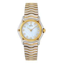 Ebel Classic Wave Mother of Pearl Diamond Dial 18 Karat Gold/Steel Watch 1157111