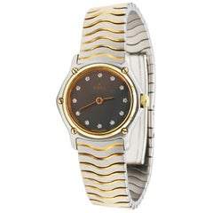 Ebel Classic Wave Stainless Steel and Gold Diamond Ladies Watch