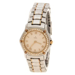 Ebel Cream Yellow Gold & Stainless Steel Diamonds 1911 Women's Wristwatch 24 mm