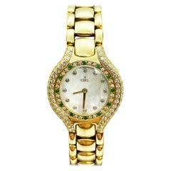 Ebel Ladies Beluga 866940 Diamond Emerald Bezel MOP Dial 18 Karat Yellow Gold