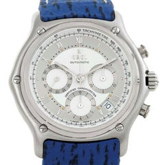 Ebel Le Modulor Automatic Chronograph Blue Strap Watch 9137241 Box Papers