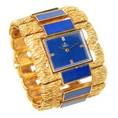 Ebel Yellow Gold Lapis Lazuli Large Manual wind Wristwatch, 1970s