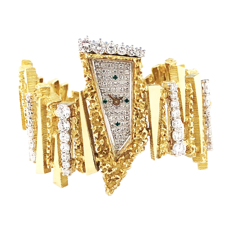 Ebel Mid-Century Modern Yellow Gold and Diamond Bracelet Wrist Watch