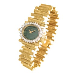 Ebel Yellow Gold Diamond Malachite Dial Manual wind Wristwatch, circa 1960s