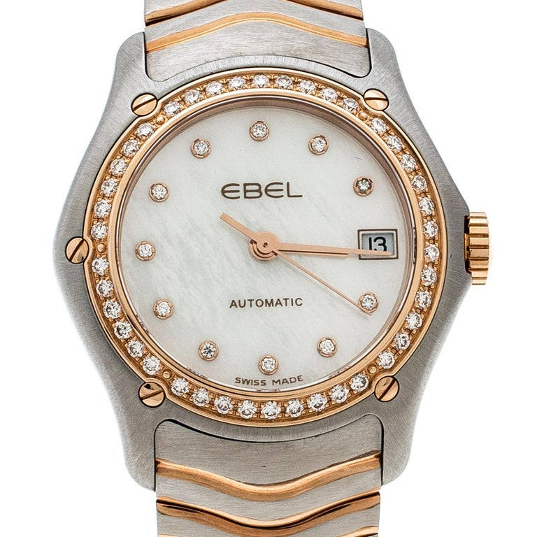 Contemporary Ebel Mother of Pearl 18K Rose Gold Stainless Steel Diamonds Classic Wave 1200F26