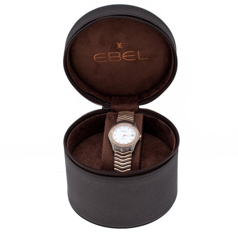 Ebel Mother of Pearl 18K Rose Gold Stainless Steel Diamonds Classic Wave 1200F26 3