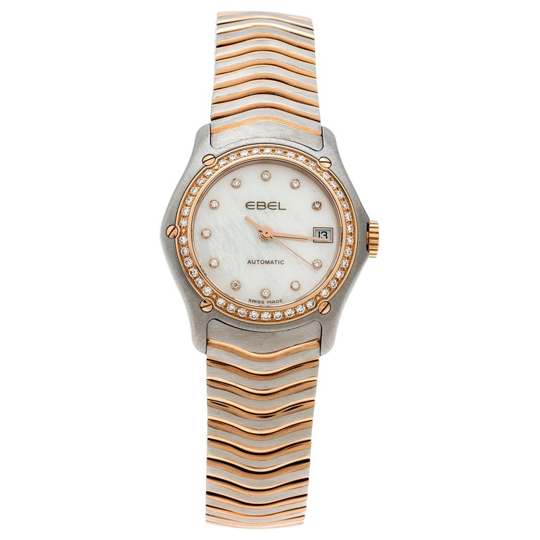 Ebel Mother of Pearl 18K Rose Gold Stainless Steel Diamonds Classic Wave 1200F26