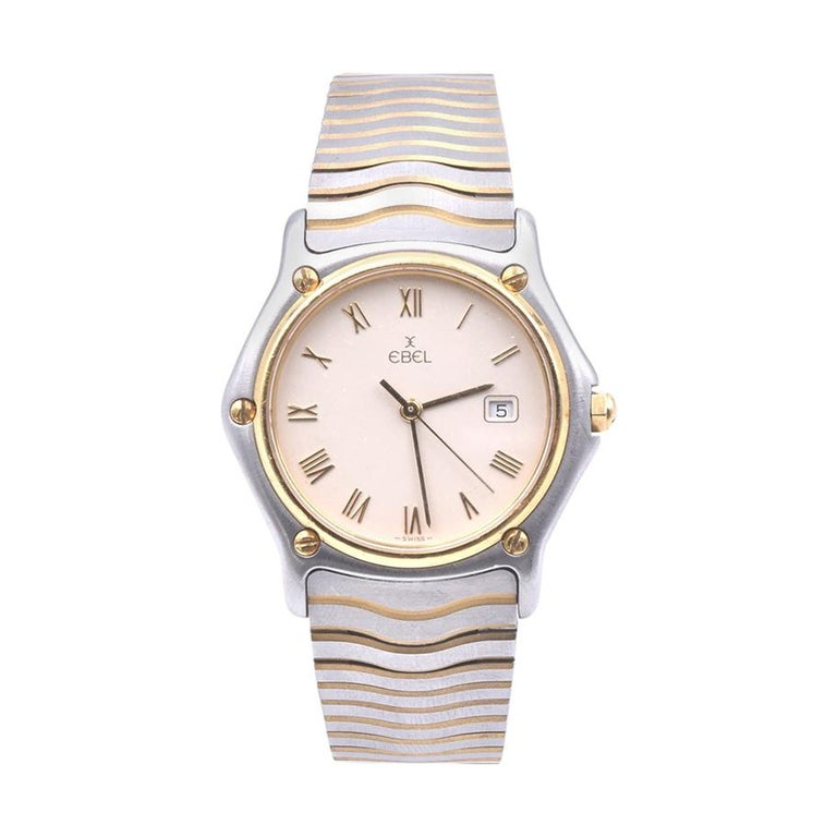 Ebel Stainless Steel and 18 Karat Yellow Gold Mid-Size Wave Watch Ref. 183909 For Sale