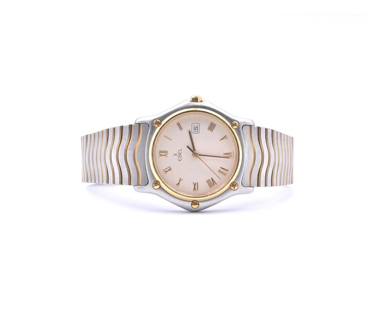 Ebel Stainless Steel and 18 Karat Yellow Gold Mid-Size Wave Watch Ref. 183909 In Excellent Condition For Sale In Scottsdale, AZ