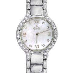 Ebel Stainless steel Beluga Mother-of-Pearl Diamond Dial Quartz Wristwatch
