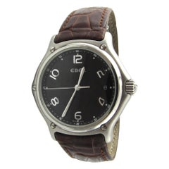 Ebel Stainless Steel Brown Leather Band Black Dial Quartz Watch 9187241