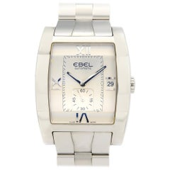 Ebel Tarawa Stainless Steel Tonneau Silver Roman Dial Men's Watch E9127J40