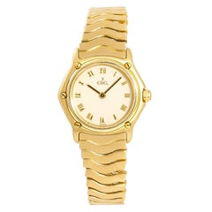 Ebel Wave 866901 Women's Quartz 18 Karat Yellow Gold Watch Ivory Dial