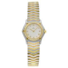 Ebel Wave Steel 18 Karat Yellow Gold MOP Roman Dial Quartz Ladies Watch 1057902