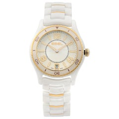 Ebel X-1 White Ceramic 18K Gold Date Silver Dial Quartz Ladies Watch 1216113
