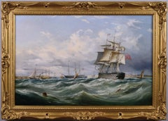 19th Century seascape oil painting of HMS Victory & other ships off Portsmouth