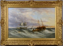 19th Century seascape oil painting of ships off a Dutch coast