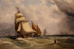 "Oil Painting by Ebenezer Colls Seascape ""Coatal Shipping"""
