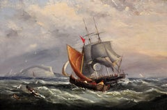 Landing the Pilot, off the Needles, Isle of Wight. Original Marine Oil Painting
