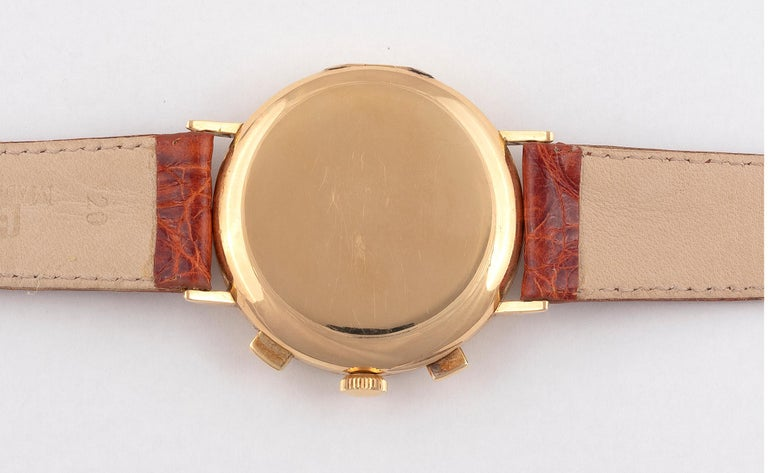 Art Deco Eberhard & Co. Gold Chronograph with Register and Tachometer For Sale
