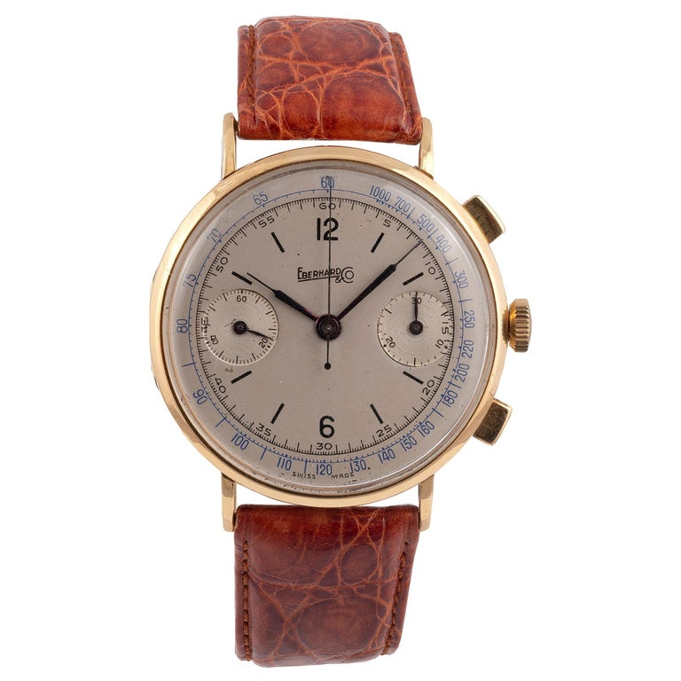 Eberhard & Co. Gold Chronograph with Register and Tachometer For Sale