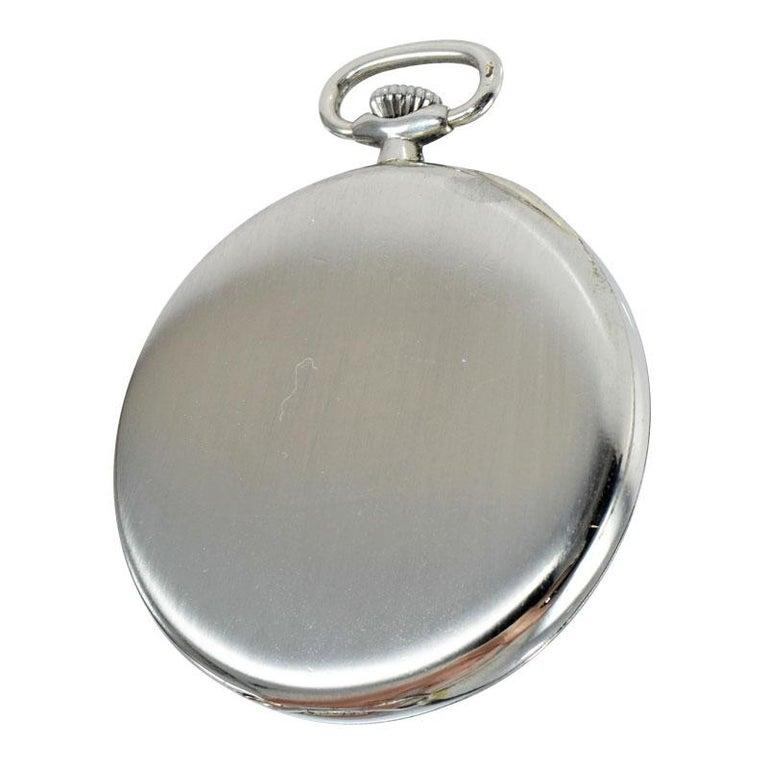 Eberhard & Co. Nickel Silver Open Faced Manual Pocket Watch, circa 1930 For Sale 5