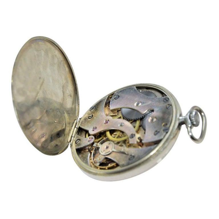 Eberhard & Co. Nickel Silver Open Faced Manual Pocket Watch, circa 1930 For Sale 7