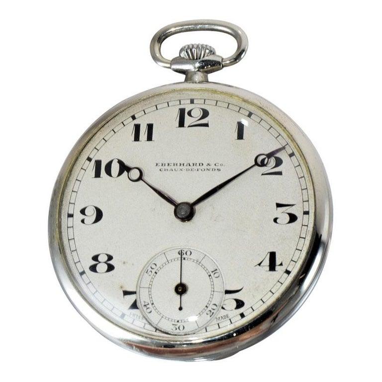 Art Deco Eberhard & Co. Nickel Silver Open Faced Manual Pocket Watch, circa 1930 For Sale