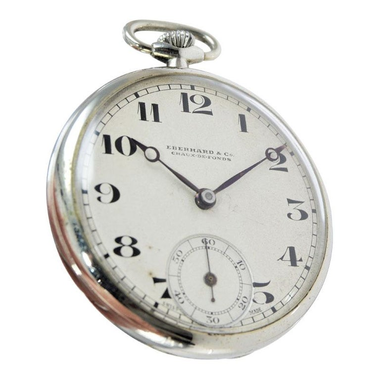 Eberhard & Co. Nickel Silver Open Faced Manual Pocket Watch, circa 1930 In Excellent Condition For Sale In Venice, CA