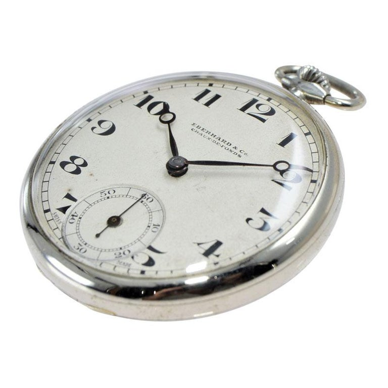 Eberhard & Co. Nickel Silver Open Faced Manual Pocket Watch, circa 1930 For Sale 1