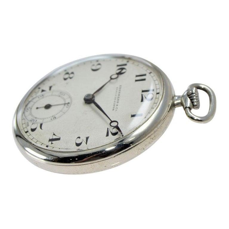 Eberhard & Co. Nickel Silver Open Faced Manual Pocket Watch, circa 1930 For Sale 2