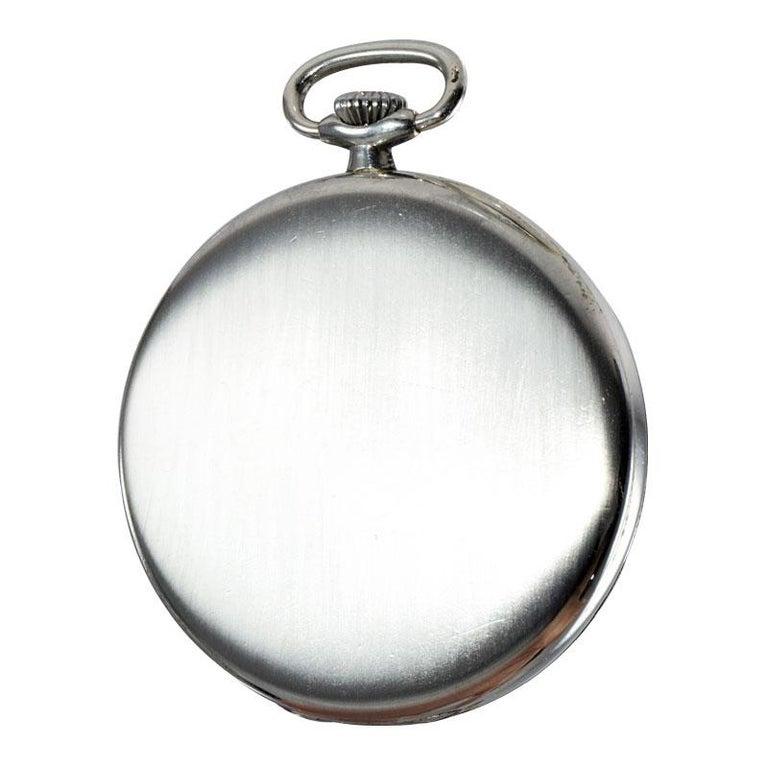 Eberhard & Co. Nickel Silver Open Faced Manual Pocket Watch, circa 1930 For Sale 4