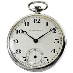 Eberhard & Co. Nickel Silver Open Faced Manual Pocket Watch, circa 1930