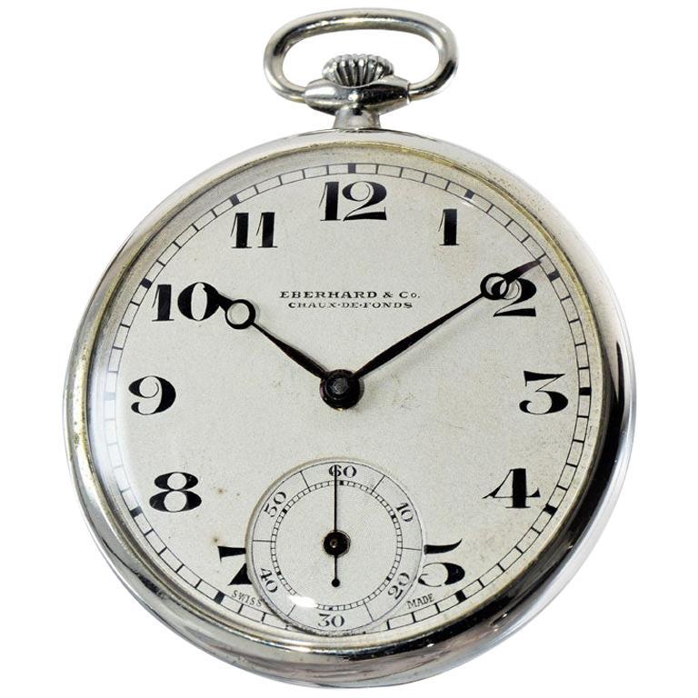 Eberhard & Co. Nickel Silver Open Faced Manual Pocket Watch, circa 1930 For Sale