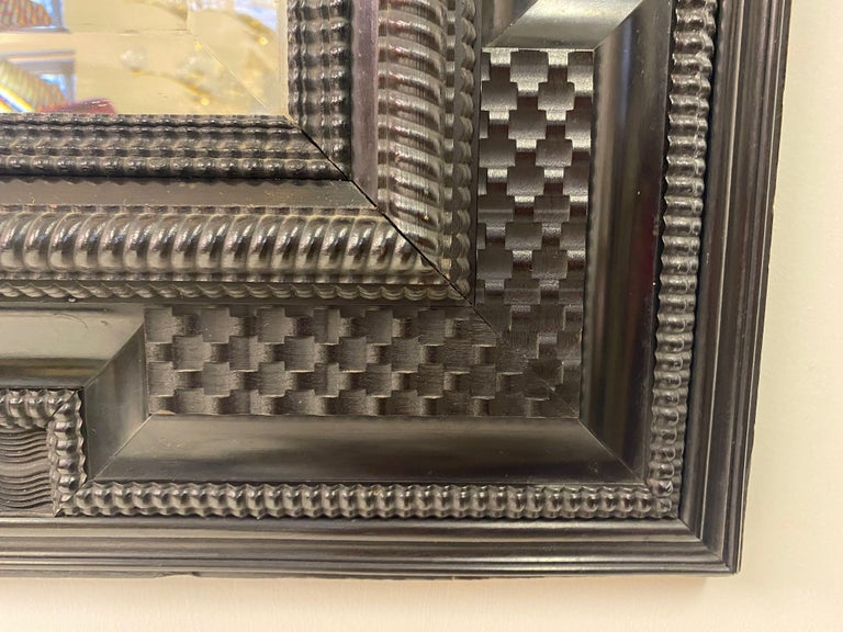 Ebonised 19th Century Flemish Ripple Moulded Mirror For Sale 5