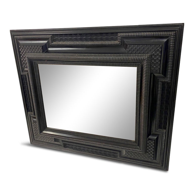 Ebonised 19th Century Flemish Ripple Moulded Mirror For Sale 6