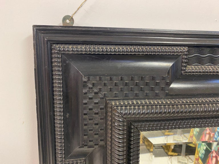 Ebonised 19th Century Flemish Ripple Moulded Mirror For Sale 1