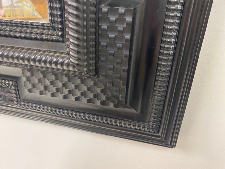 Ebonised 19th Century Flemish Ripple Moulded Mirror For Sale 4