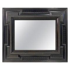 Ebonised 19th Century Flemish Ripple Moulded Mirror