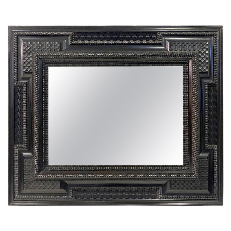 Ebonised 19th Century Flemish Ripple Moulded Mirror For Sale