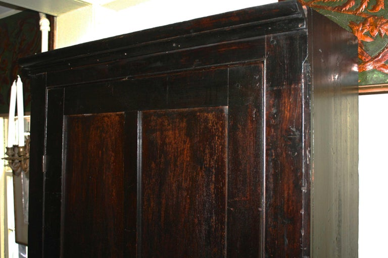 Hand-Crafted Ebonised American Pine Pantry Cupboard For Sale