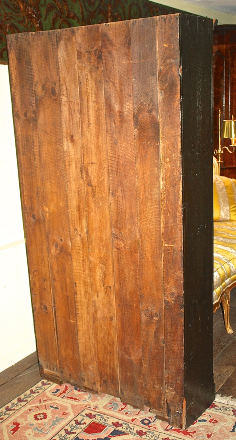 Mid-19th Century Ebonised American Pine Pantry Cupboard For Sale