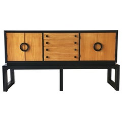 Ebonised and Wooden Cabinet by Americraft, 1970s