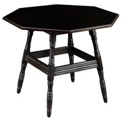 Ebonised Arts & Crafts Octagonal Centre Table in the Manner of Philip Webb
