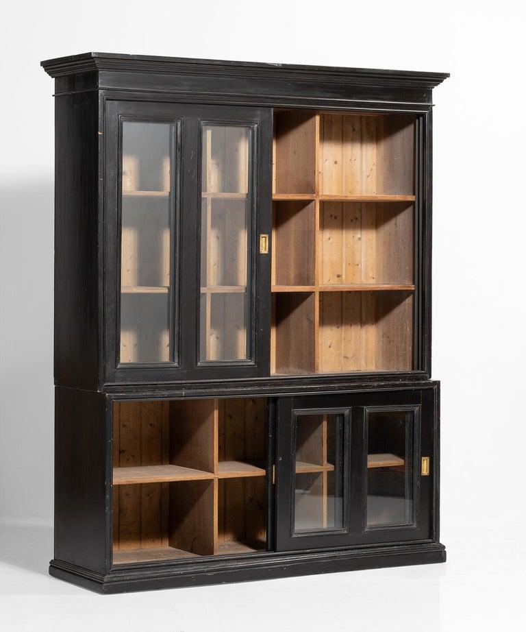 English Ebonised Museum Cabinet For Sale